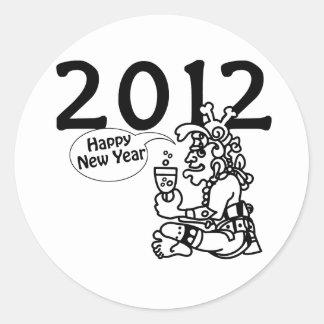 Años Nuevos mayas 2012 Etiquetas Redondas