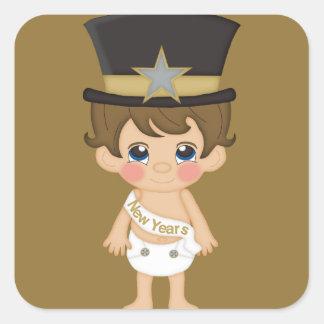 Años Nuevos retros de Año Nuevo del bebé Colcomania Cuadrada
