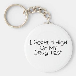 Anoté alto en mi prueba de droga llavero redondo tipo pin