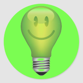 ANOTHER BRIGHT IDEA SMILEY LIGHT BULB GREEN CLASSIC ROUND STICKER