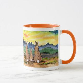 """Another Bunny Day"", Rabbits Watching Sun Rise Mug"