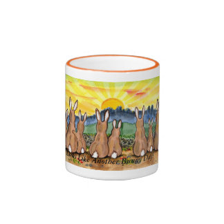 """Another Bunny Day"", Rabbits Watching Sun Rise Ringer Mug"