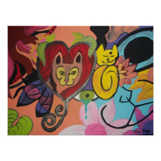 Another Cat Abstract Pianting Poster