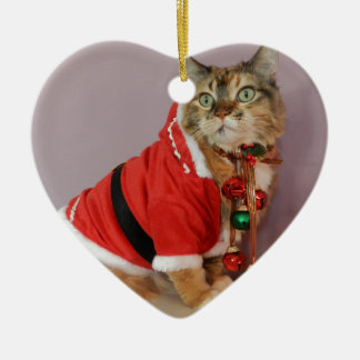 Another Christmas Santa cat Double-Sided Heart Ceramic Christmas Ornament