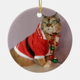 Another Christmas Santa cat Double-Sided Ceramic Round Christmas Ornament