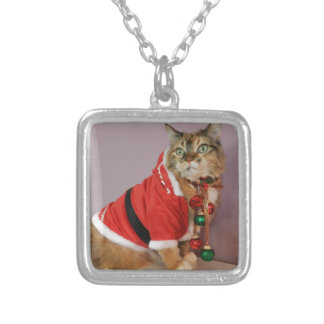 Another Christmas Santa cat Silver Plated Necklace