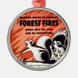 Another Enemy to Conquer Forest Fires Vintage Metal Ornament