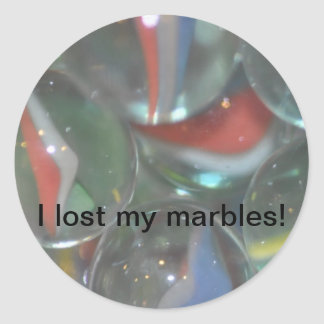 Another I lost my marbles Classic Round Sticker
