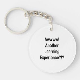 another learning experience black text keychain
