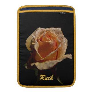 Another Orange Rose on Black MacBook Air Sleeve