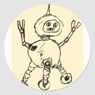 Another robot Doodle Classic Round Sticker