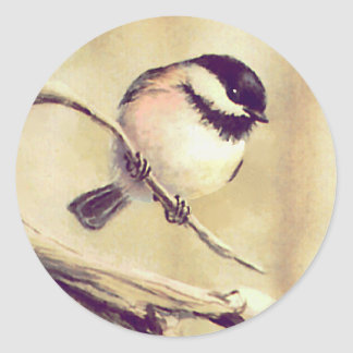 ANOTHER SMALL CHICKADEE by SHARON SHARPE Classic Round Sticker
