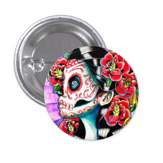 Another Time Sugar Skull Girl Pin