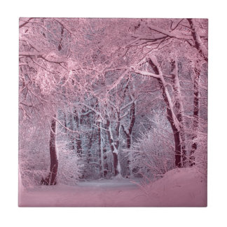 another winter wonderland pink small square tile
