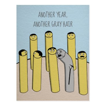 USA Themed Another Year Gray Hair Funny Old Birthday Postcard