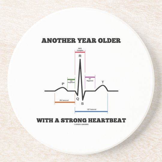 Another Year Older With A Strong Heartbeat ECG/EKG Drink Coaster