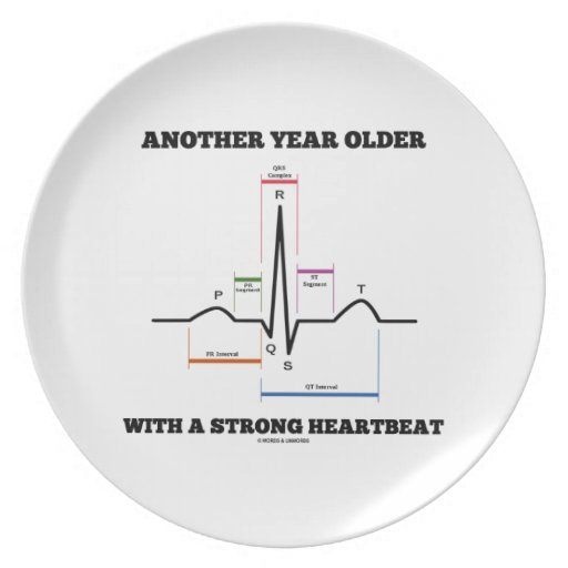 Another Year Older With A Strong Heartbeat ECG/EKG Plates