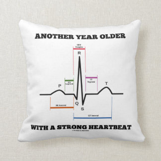 Another Year Older With A Strong Heartbeat ECG/EKG Throw Pillow