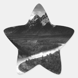 Ansel Adams el Tetons y el río Snake Pegatina En Forma De Estrella