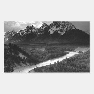 Ansel Adams el Tetons y el río Snake Pegatina Rectangular