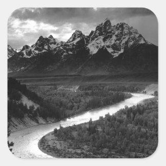 Ansel Adams el Tetons y el río Snake Pegatina Cuadrada