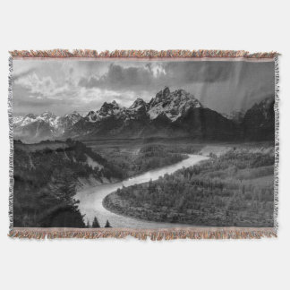 Ansel Adams Teton Snake River Throw Blanket