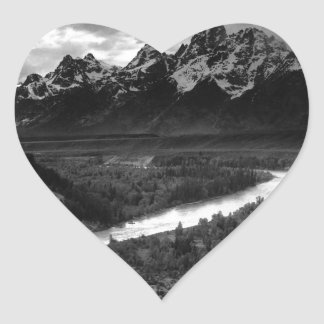 Ansel Adams The Tetons and the Snake River Heart Sticker