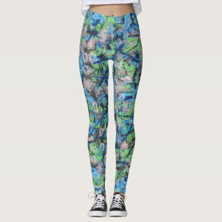 Anstract Swishes of Blue and Green Leggings