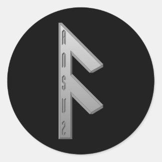 Ansuz Rune grey Classic Round Sticker