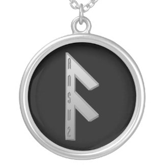 Ansuz Rune grey Silver Plated Necklace