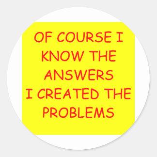 ANSWERS CLASSIC ROUND STICKER