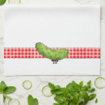 "Ant and Pickle - Kitchen Towel<br><div class=""desc"">Kitchen towel with ant packing off a pickle.</div>"