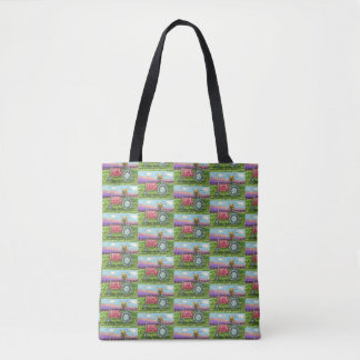 ANT FARM IN THE COUNTRY, RED TRACTOR TOTE BAG
