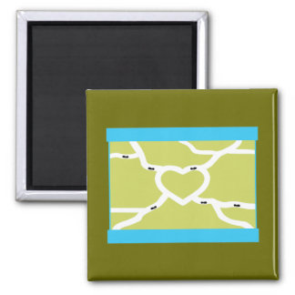 Ant Farm Love 2 Inch Square Magnet