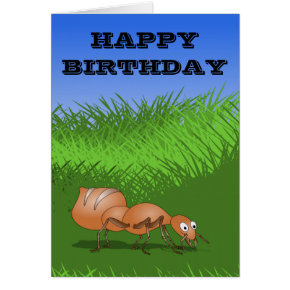 Ant Happy crawler birthday card