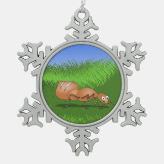 Ant in tall green grass snowflake pewter christmas ornament