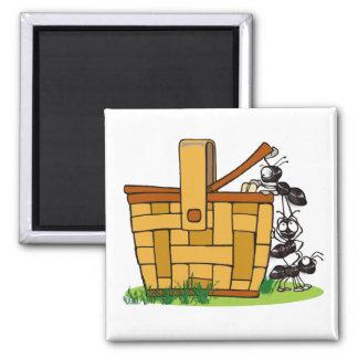 Ant Picnic Basket 2 Inch Square Magnet