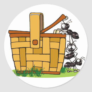 Ant Picnic Basket Classic Round Sticker