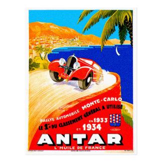 Antar Gas Vintage Auto Road Race Ad Postcard