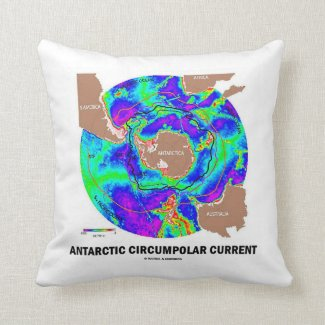Antarctic Circumpolar Current (Ocean Current Map) Throw Pillows