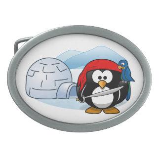 Antarctic Pitate Penguin Oval Belt Buckle