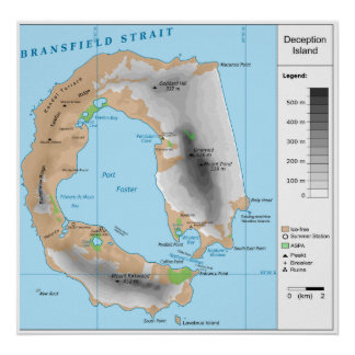 Antarctic South Shetland Map of Deception Island Print