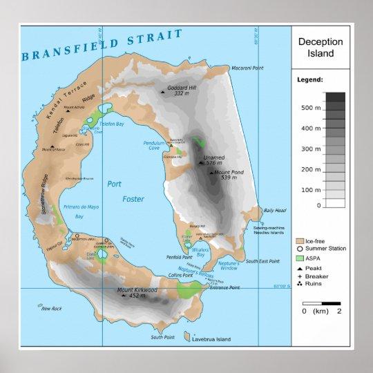 Antarctic South Shetland Map of Deception Island Poster