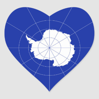 Antarctic Treaty Heart Flag. Antarctica Heart Sticker
