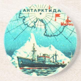 Antarctica 1956 sandstone coaster