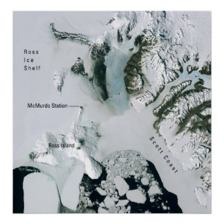 Antarctica and McMurdo Station from Space Poster