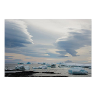 Antarctica. Brown Bluff. Lenticular clouds Poster