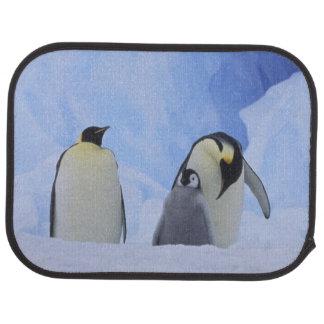 Antarctica. Emperor penguins and chick Car Floor Mat
