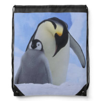 Antarctica. Emperor penguins and chick Drawstring Backpack