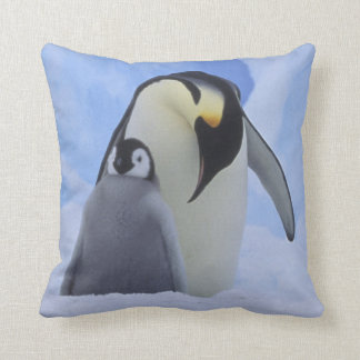 Antarctica. Emperor penguins and chick Throw Pillow